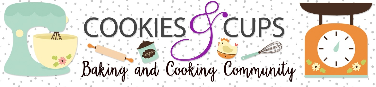 A Promotional Graphic Advertising the Cooking and Baking Facebook Group for Cookies & Cups