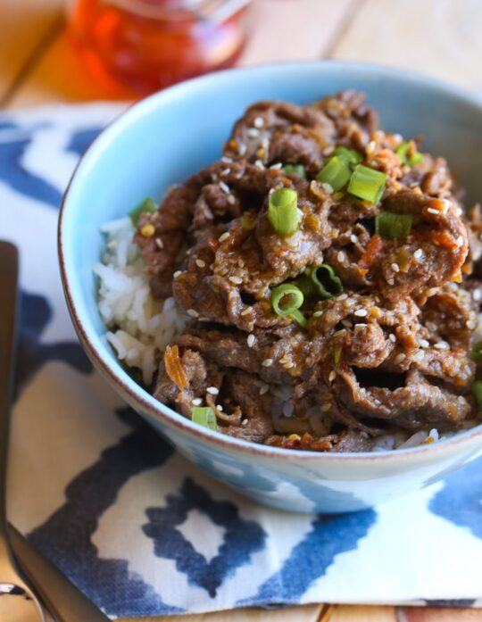 Asian Fire Meat... an easy and spicy marinade on thinly sliced beef. Great over rice or in an Asian-style taco!