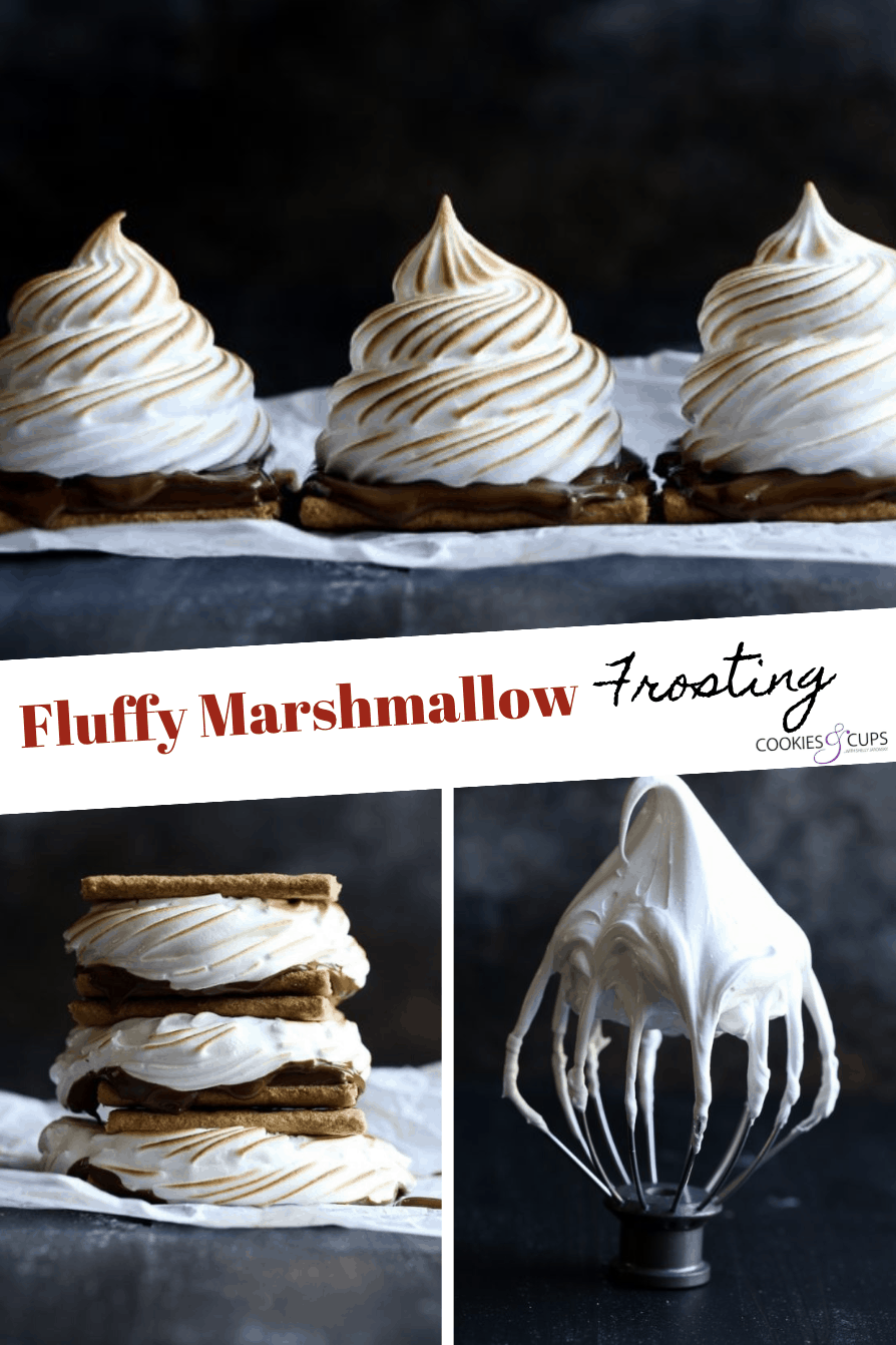 Pinterest image for fluffy marshmallow frosting