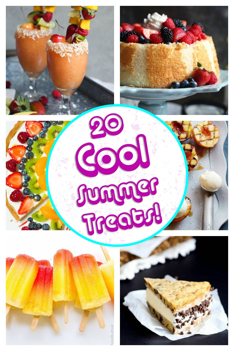 Top Right: Frozen Sangria, Top Left: Angel Food Cake, Middle Right: Fruit Pizza, Middle Left: Grilled Peaches, Bottom Right: Tropical Tequila Sunrise Popsicles, Bottom Left: Chipwich Ice Cream Cake