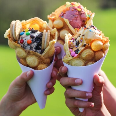 bubble waffles cookies and cups