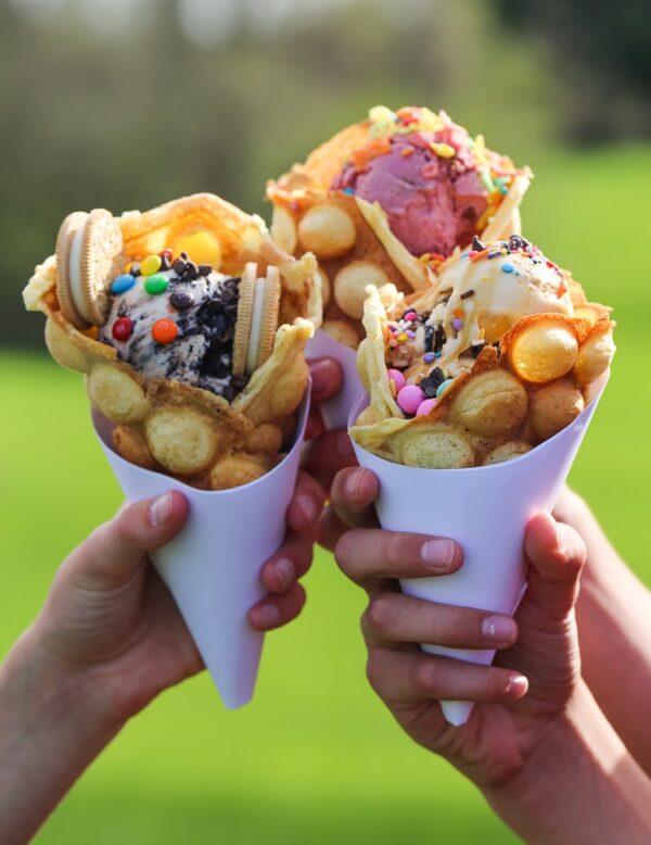 Bubble Waffle Ice Cream Cones!