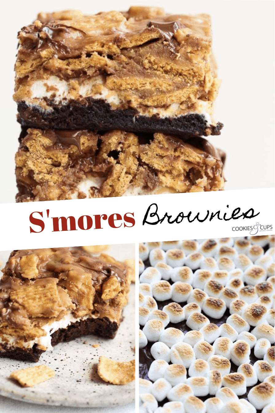 Pinterest Image for Peanut Butter S'mores Brownies
