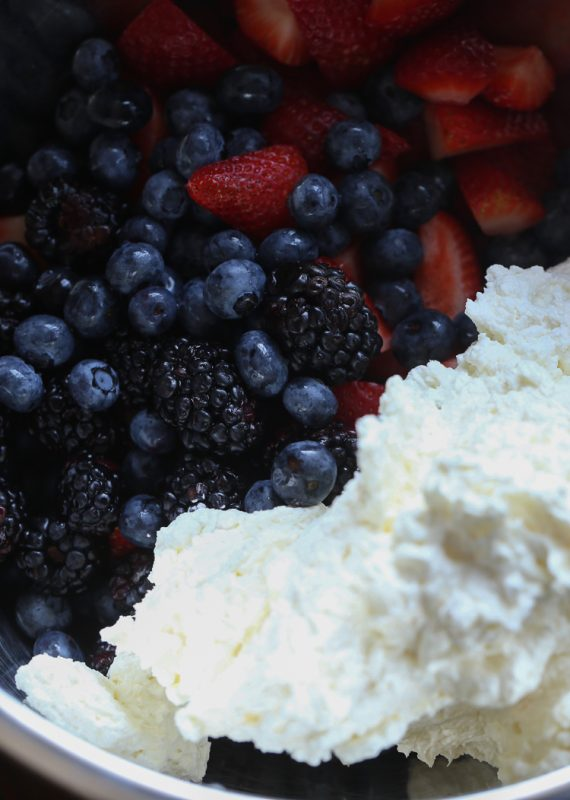 Berry Ambrosia Salad! Creamy and perfect for a summer cookout!