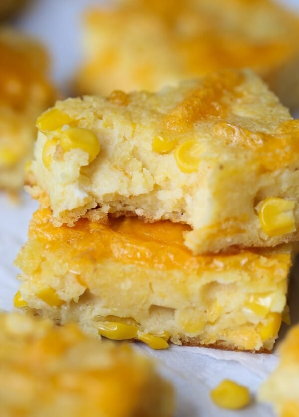Creamy Cheesy Cornbread! It's like a cross between cornbread and corn casserole that you can eat with your hands! LOVE IT!