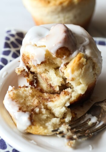 No Yeast Cinnamon Roll Muffins! The gooiest part of the cinnamon roll made quick with no yeast necessary!
