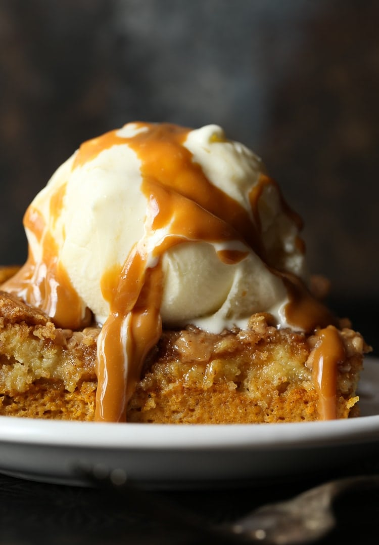 57c08b22376 Pumpkin Dump Cake image with ice cream and caramel sauce