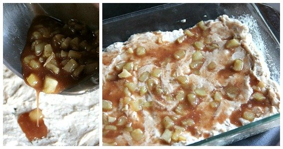 Collage of two photos of batter in a baking dish with diced apples with cinnamon on top