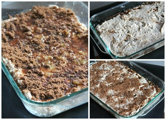 Collage of 3 photos of unbaked apple fritter cake