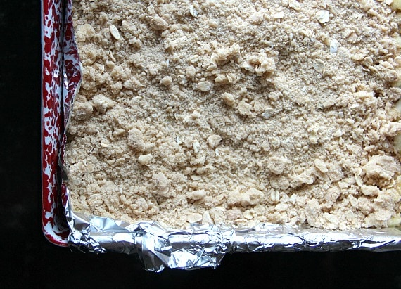Top view of streusel-topped bars in a baking pan