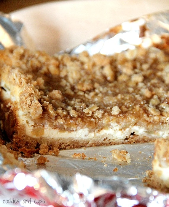 Close-up of a caramel apple cheesecake bar