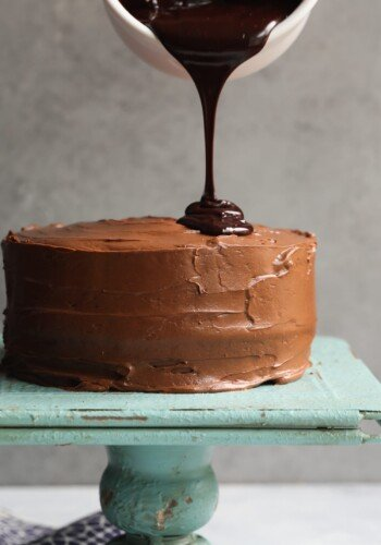Chocolate Cake with Chocolate Cream Cheese and Chocolate Ganache