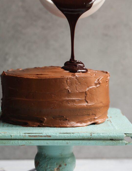 Chocolate Cake with Chocolate Cream Cheese and Chocolate Ganache