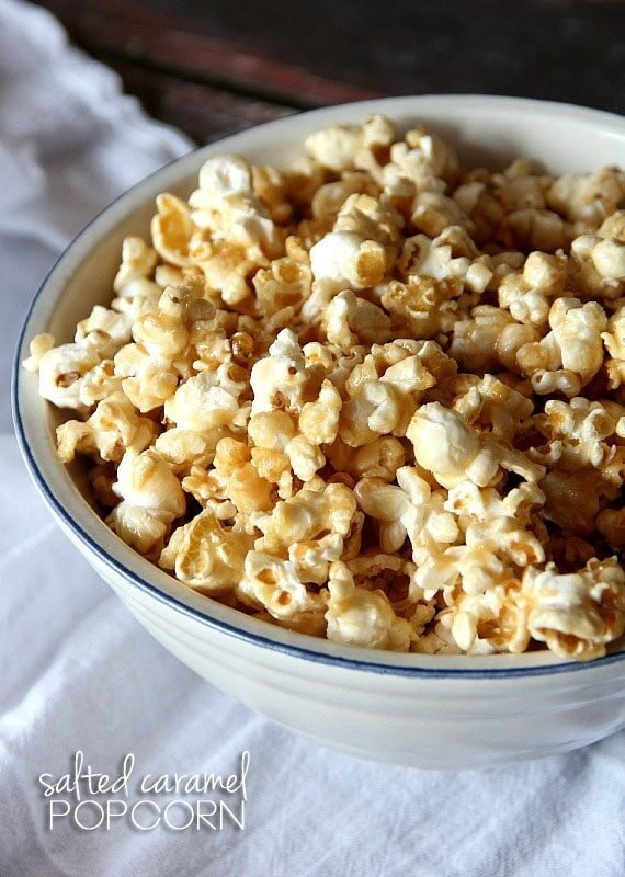 Salted Caramel Corn is crispy, sweet, coated in homemade caramel with the perfect amount of salt added for balance.