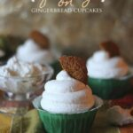 Three Gingerbread Cupcakes with White Chocolate Pudding Frosting and a Gingerbread Garnish