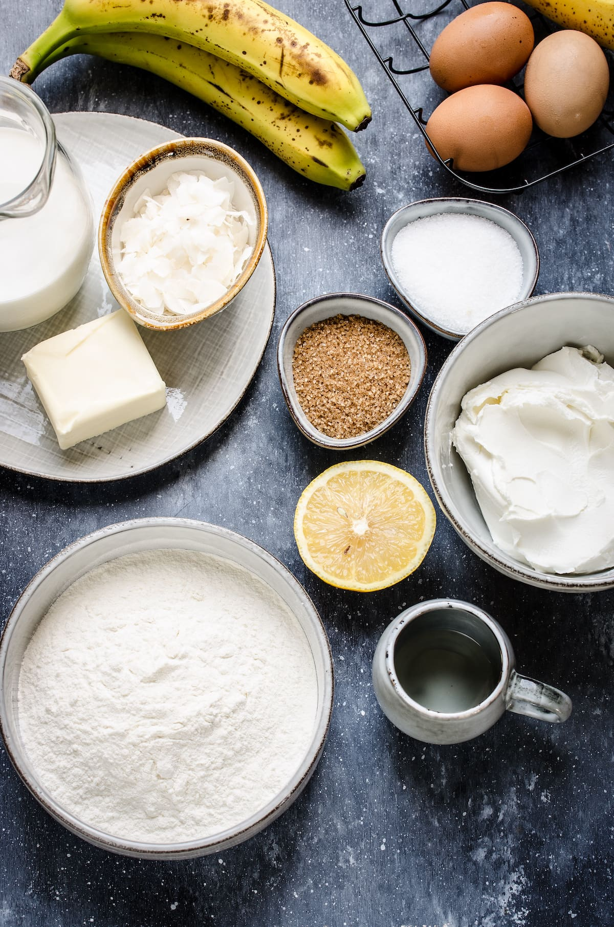 Ingredients for frosted banana cake