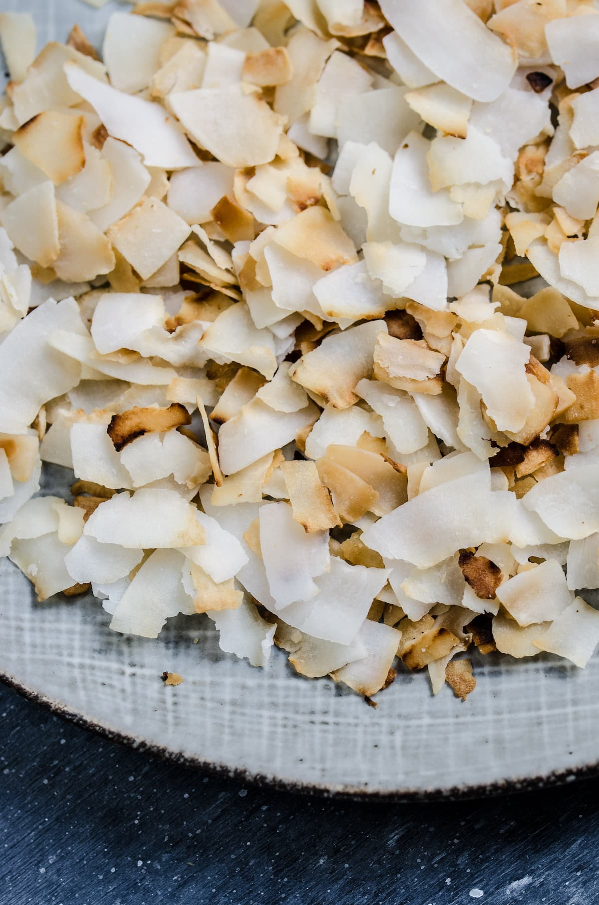 Toasted coconut in a bowl