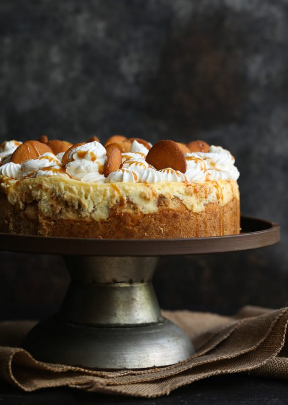 Banana Pudding Cheesecake on a cake stand