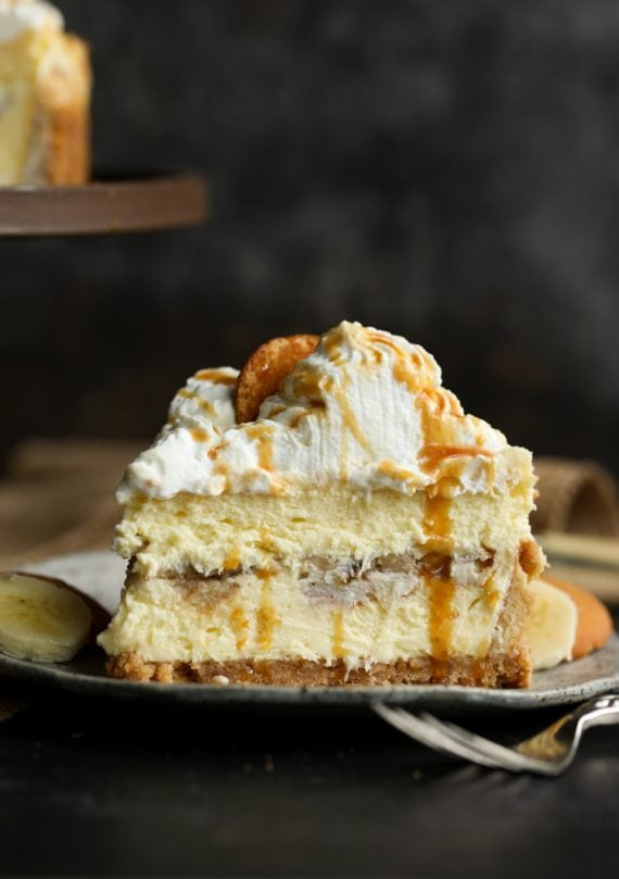 A slice of homemade banana pudding cheesecake.