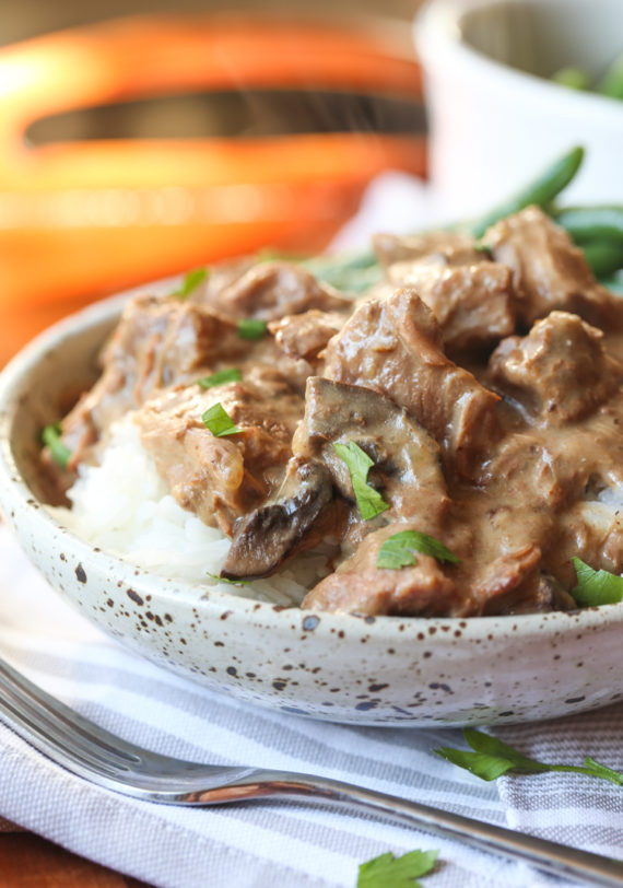 Easy Slow Cooker Beef Tips dinner is an easy, healthy dinner idea!
