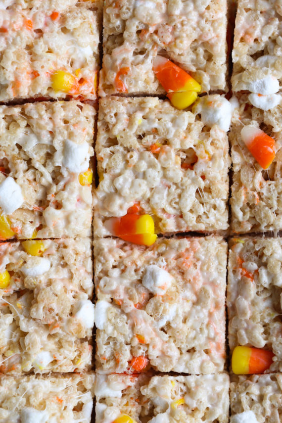 Easy Candy Corn Krispie Treats are a great marshmallow treat for Halloween