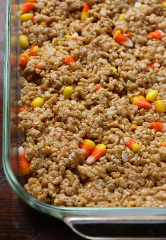 Candy Corn Scotcheroos mixture in a pan