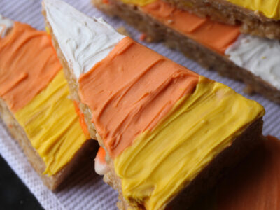Candy Corn Scotcheroos with candy corn in side!