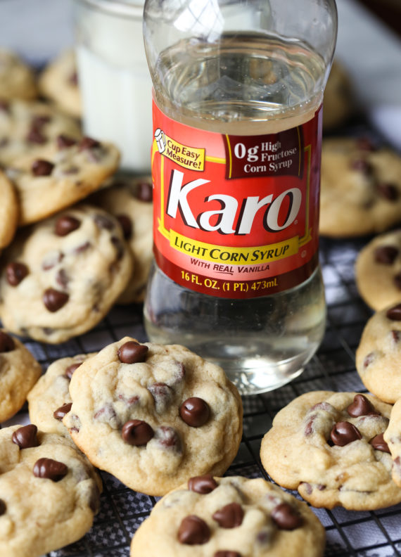 Karo Syrup makes these the best chewy chocolate chip cookies!