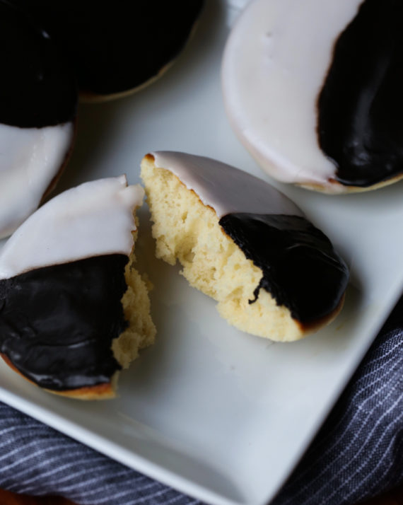 Black and White Cookies are tender, cakey cookies