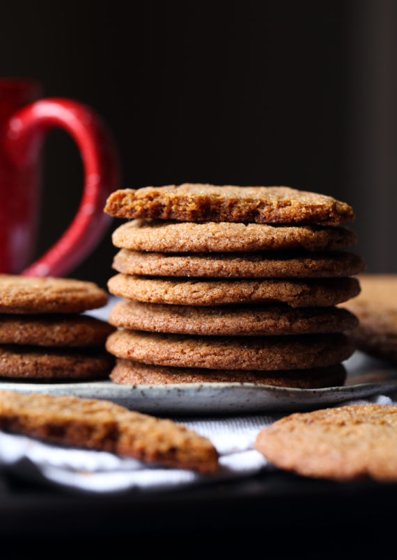 Gingersnap Cookies are crispy on the outside and chewy on the inside!