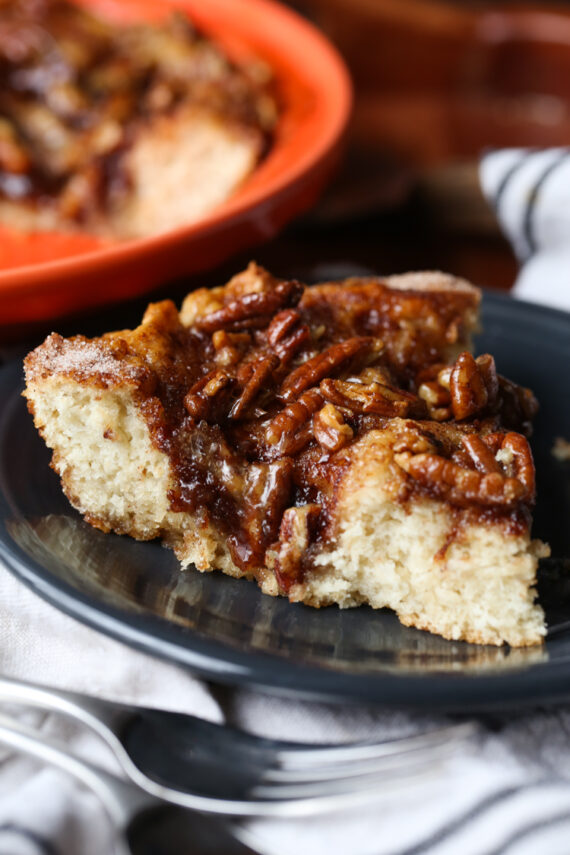 Easy Caramel Pecan Coffee Cake is the best coffee cake ever!