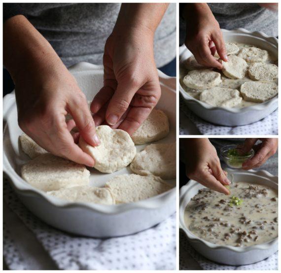 Making Sausage Biscuit and Gravy Bake
