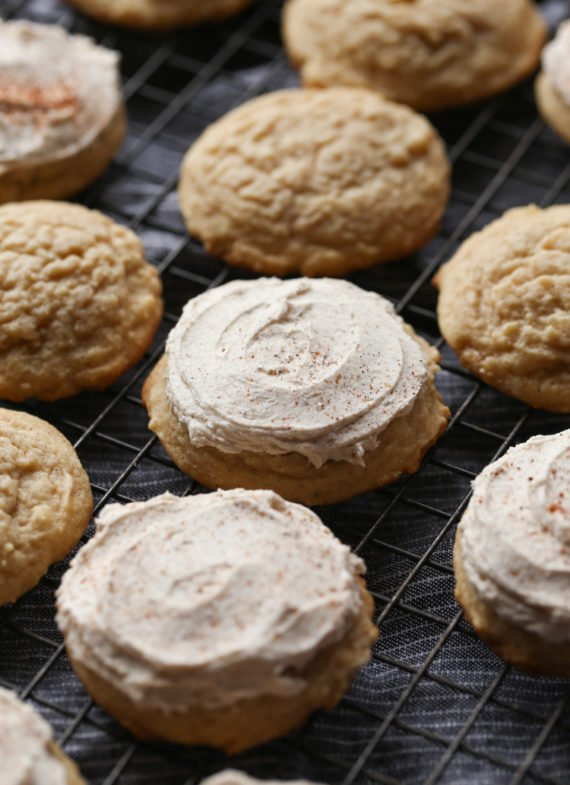 Frosted Egg Nog Cookies Recipe are soft, cinnamon sugar cookies with egg nog frosting