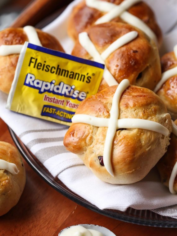 Hot Cross Buns recipe made with yeast