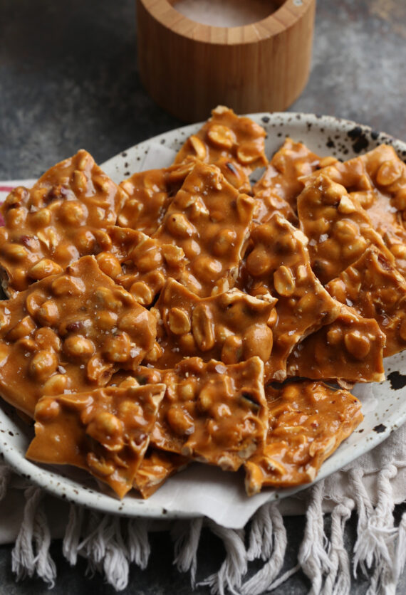 Easy Peanut Brittle recipe is salty sweet and crunchy!