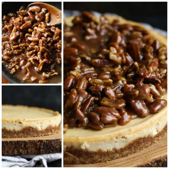 Side view of pecan pie cheesecake