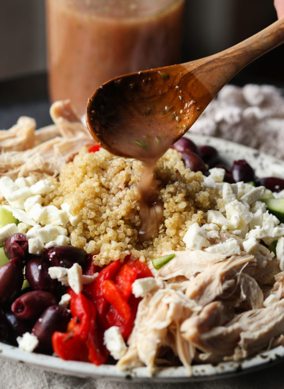Greek Salad Dressing is great on Quinoa salad!