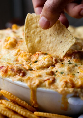 Serve this Hot Corn Dip Recipe with chips for an easy appetizer!