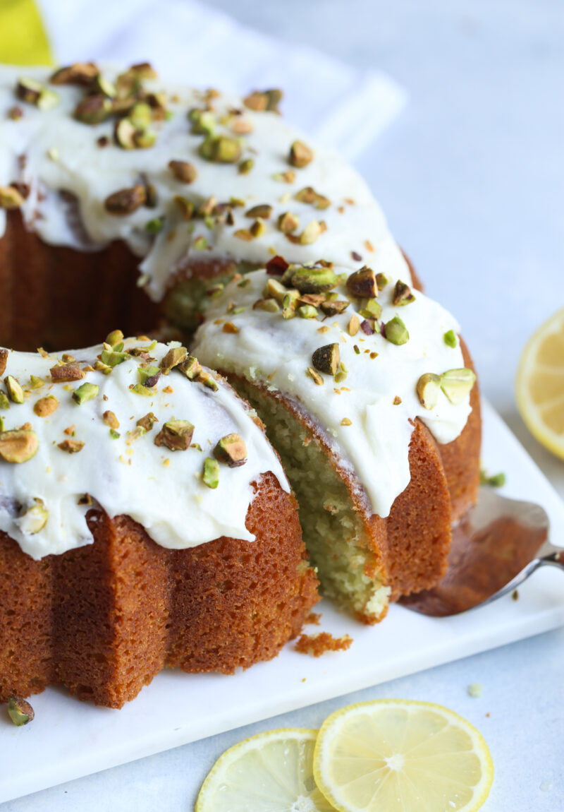 This pisatchio lemon bundt cake recipe is easy and delcious