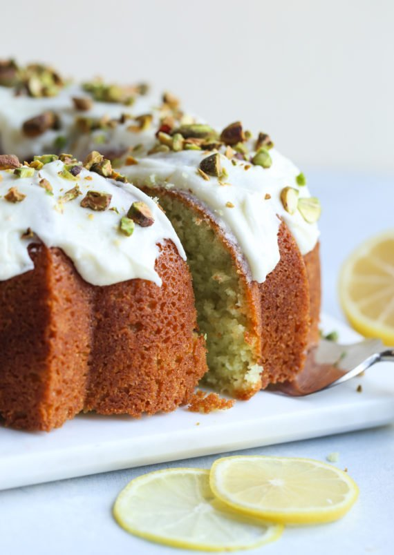 Pistachio Lemon Bundt Cake is an easy bundt cake recipe