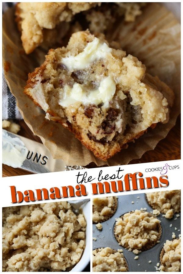 Banana Muffins Pinterest Image