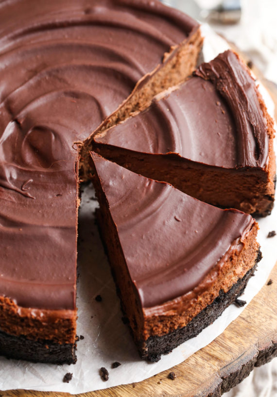 This easy Chocolate Cheesecake recipe is rich and creamy