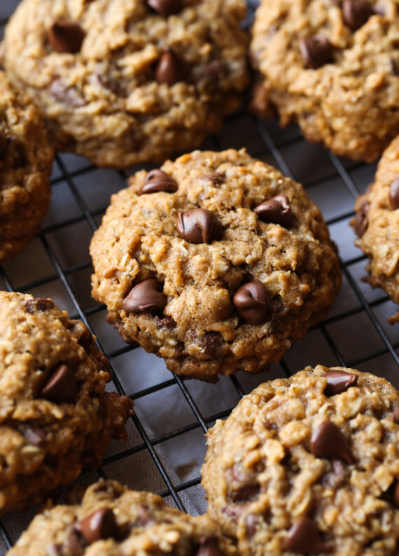 Oatmeal Chocolate Chip Cookies on a cooking rack