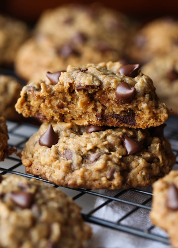 Oatmeal Chocolate Chip Cookies are thick, soft and loaded with chocolate