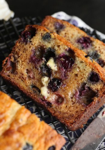 Homemade Banana Bread is moist and packed with juicy blueberries