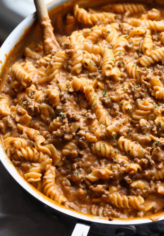 Creamy Beef Pasta is a great weeknight pasta recipe loaded with flavor