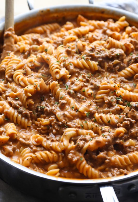 Creamy Beef Pasta is an easy weeknight beef pasta dish that your whole family will love