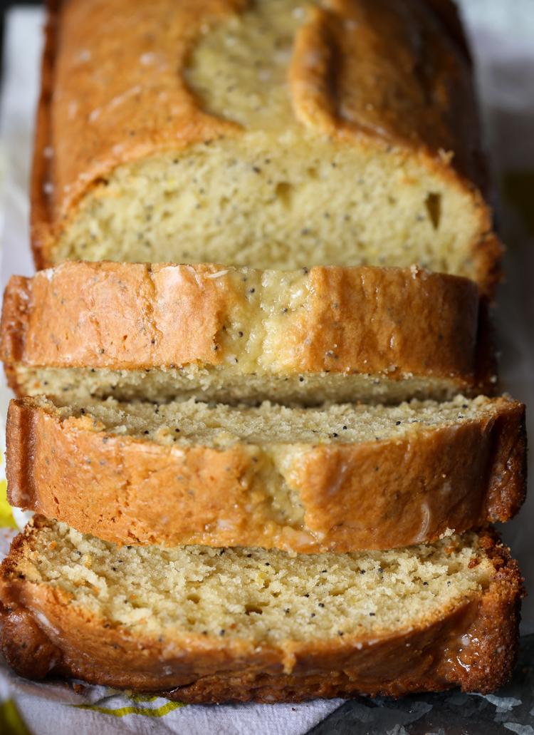 Sliced Lemon Poppy Seed Pound Cake is great for breakfast!
