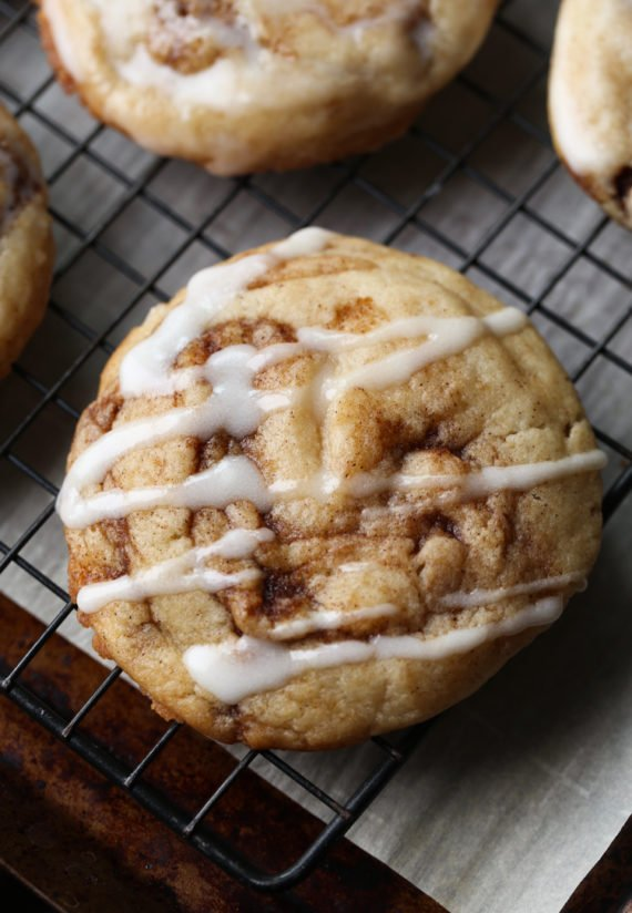 Easy Cinnamon Roll Cookies Recipe topped with sweet icing