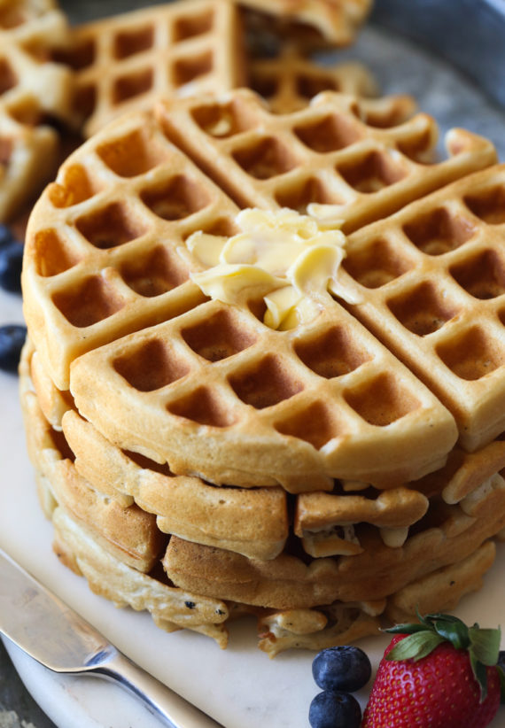 This Classic Buttermilk Waffle Recipe is golden brown and topped with butter